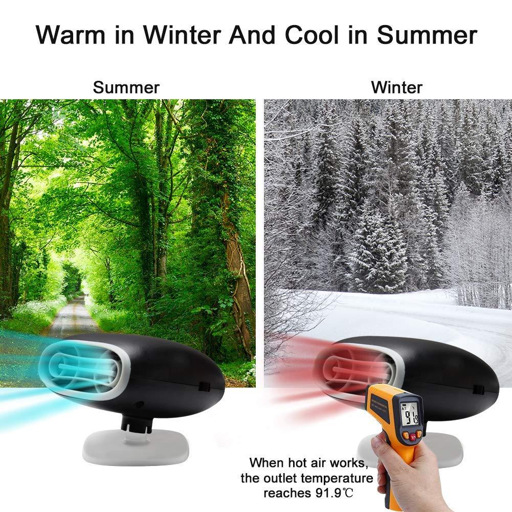 Acidea Riscaldatore per Auto Portatile 12 V 150 W Riscaldamento rapido in 30 Secondi riscaldatore Portatile in Ceramica Nero sbrinamento rapido
