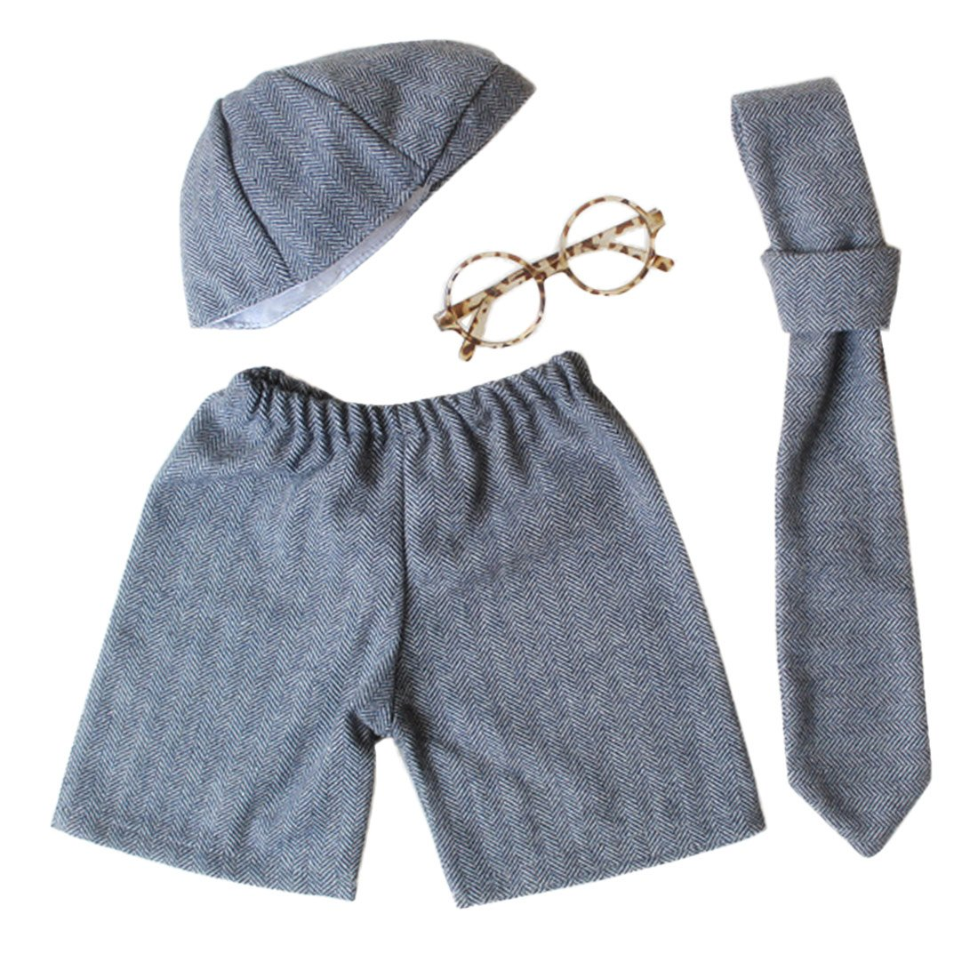 Newborn Boy's Gentry Photography Set Lovely Tie Shorts Polyester Costume with Glasses 4pcs