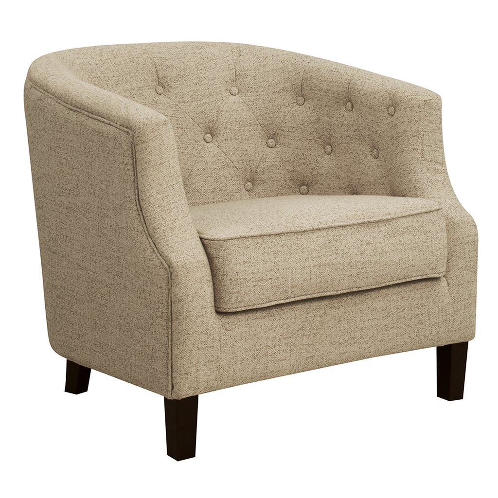 Madison Park 6289 Trist Ansley Accent Chairs-Solid Wood, Button Tufted Armchair Modern Contemporary Style Living Room Sofa Furniture Barrel Receding Arm Design, Bedroom Lounge, Cream