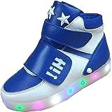 Gaorui Kinder Jungen Mädchen High-Top LED Light Sneakers Fluorescence Sportsschuhe Klettverschluss ohne USB