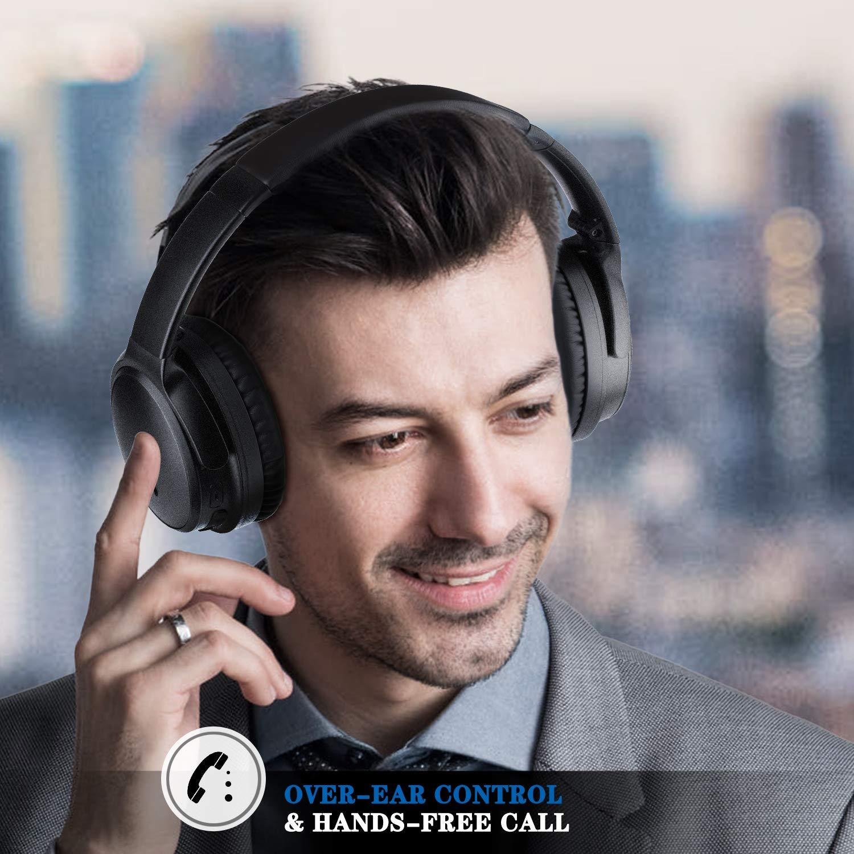 26-Stunden-Wiedergabezeit Flugzeugadapter HiFi Stereo Bass Over Ear Headset mit Mikrofon PC//Handy // TV KAMTRON-LEVIN Bluetooth Kopfh/örer Noise Cancelling Kabellos faltbar f/ür Reisen und Arbeiten