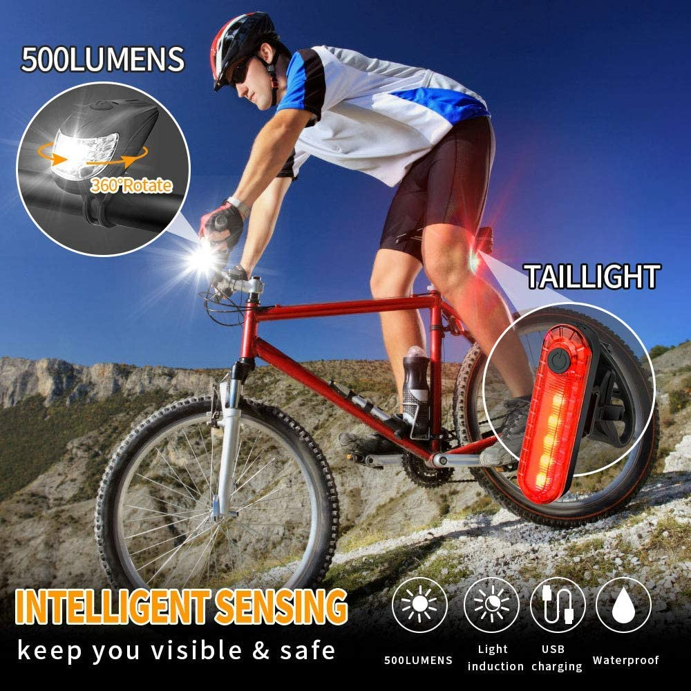 Super Bright USB Rechargeable LED Bike Bicycle Light Headlight /&Taillight Set