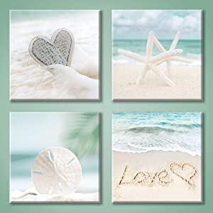 Aqua Beach Seashell Pictures Artwork: Love & Starfish Canvas Print Wall Art for Bathroom (12'' x 12'' x 4 Panels)