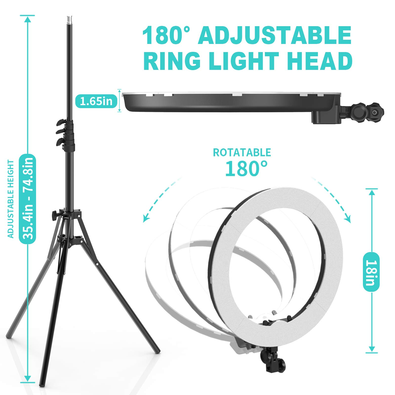 Ring Light Kit 18'' 48cm Outer 55W 5500K Dimmable Led Light Ring with Tripod Stand & Carrying Bag for Camera, Smartphone,Make-Up,YouTube,Portrait Shooting,Live Stream etc by PIXEL (Image #2)
