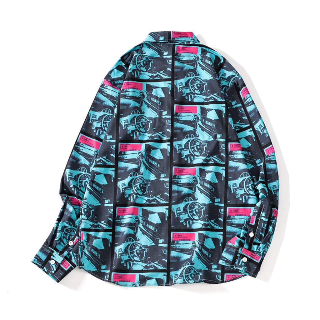 iZZZHH Mens Fall Fashion Print Shirt Casual Beach Top Long-Sleeve Lapel Button Blouse
