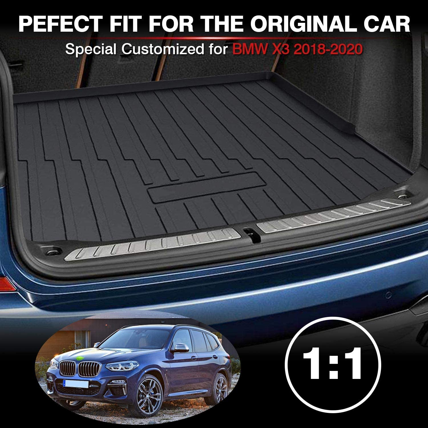 Powerty Trunk Mat All Weather TPO Rear Cargo Liner for BMW G01 X3 2018 2019 2020