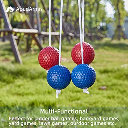 3 Red + 3 Blue Outdoor Lawn Yard Beach Game for Kids Adults Family 6 Pack Rubber Tossing Ball Replacement for Ladder Toss Game ApudArmis Ladder Bolas Balls