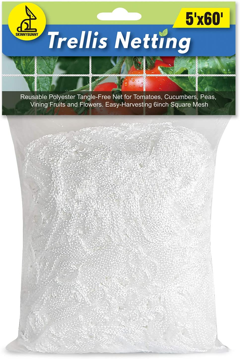 SKINNYBUNNY 5x60ft Trellis Netting, Durable Garden Grow Netting, Heavy-Duty Nylon String Net, Designed for Climbing Vining Plants, Fruits and Vegetables, Hydroponics, Fit in All-Weather, 1-Pack