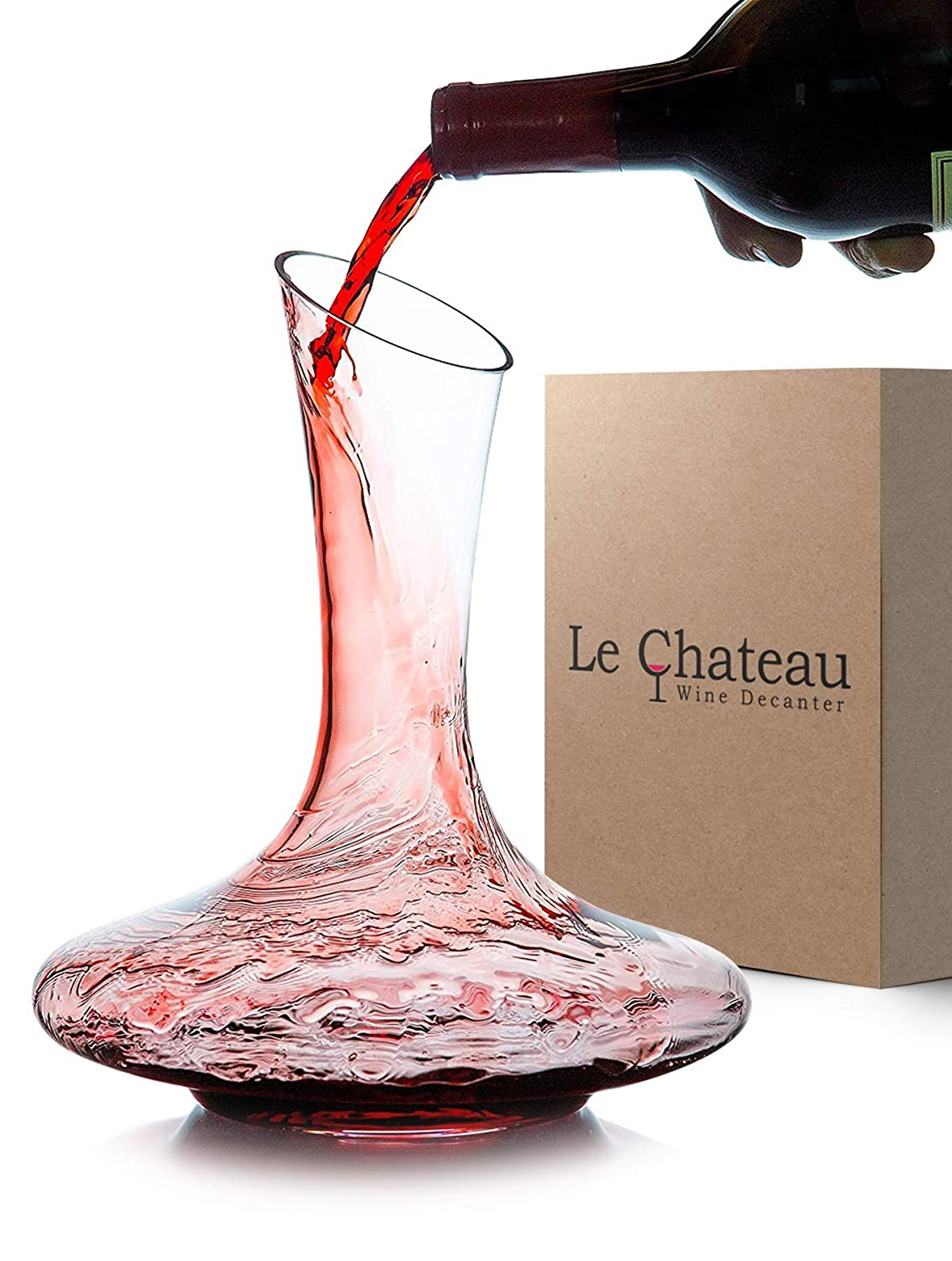 Le Chateau Wine Decanter - 100% Hand Blown Lead-free Crystal Glass, Red Wine Carafe, Wine Gift, Wine Accessories SYNCHKG083779