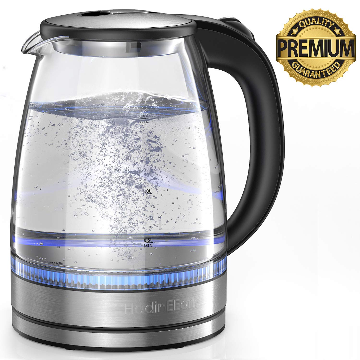 HadinEEon Electric Kettle 1.7L Glass Electric Tea Kettle (BPA Free) Cordless with LED Indicator Lights, Water Boiler with Boil-Dry Protection, Stainless Steel Inner Lid & Bottom