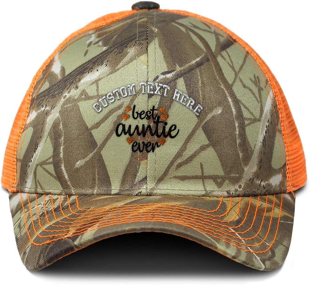 Custom Camo Mesh Trucker Hat Best Auntie Ever Orange Embroidery Cotton One Size