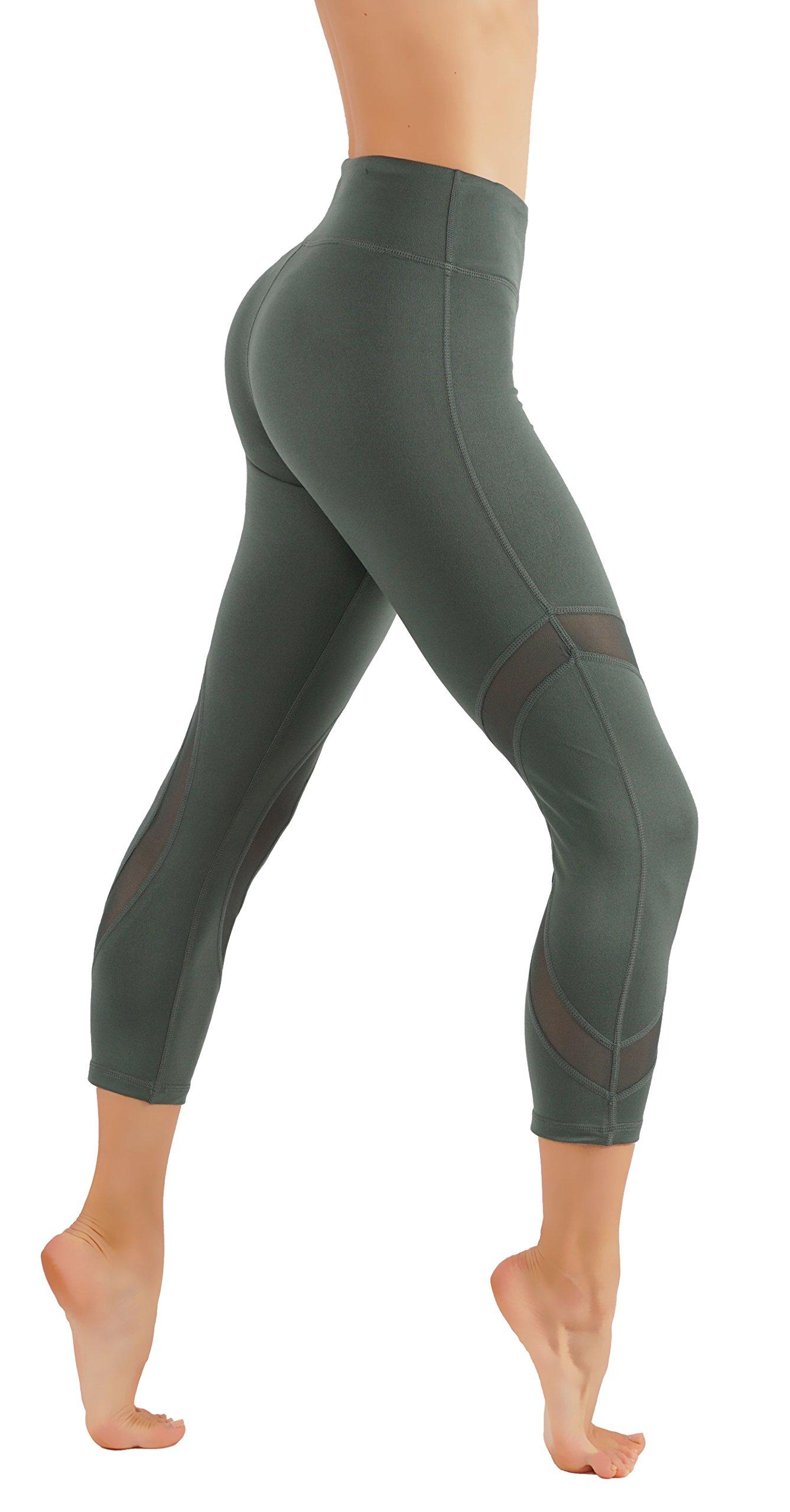 CodeFit Yoga Pants Power Flex Dry-Fit Capri Leggings Mesh Panels Workout in Style (L USA 4-6, CF322-KIW)