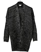 SAYM Women's Twist Pockets School Wear Sweater Loose Long Knit Cardigan