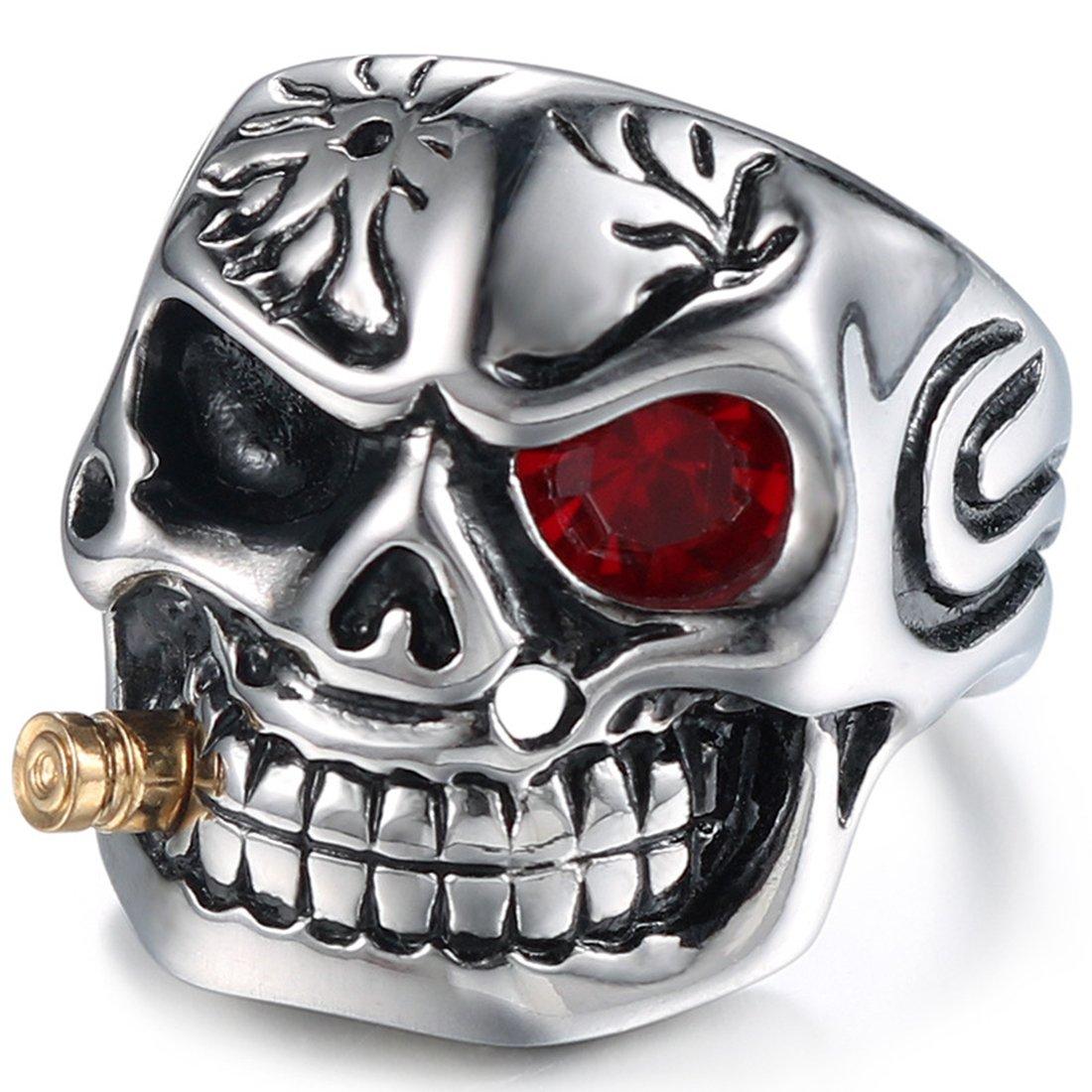 DALARAN Anillos de acero inoxidable para hombres Cigar Skull Ring Gothic Band Rojo/Ojo transparente