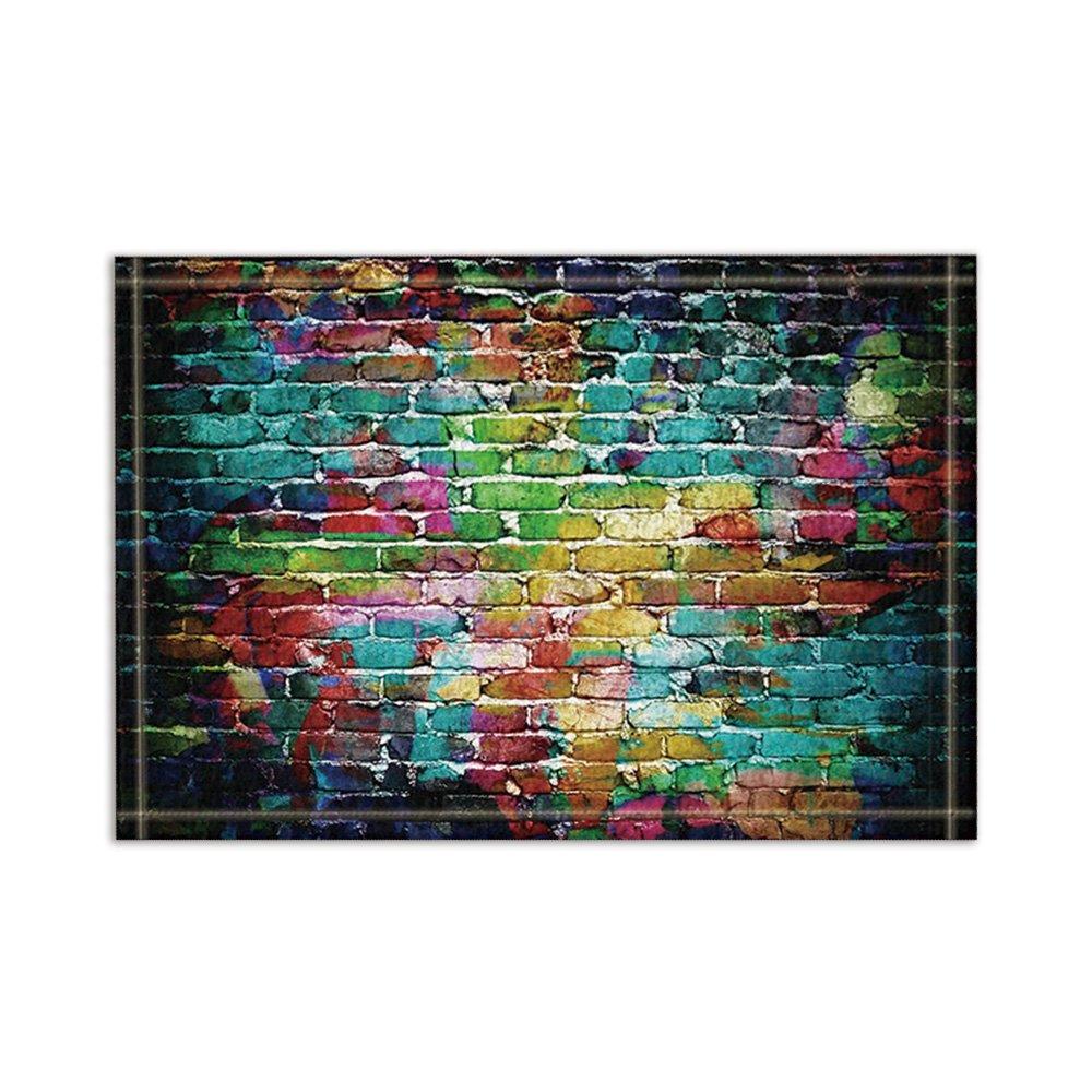 NYMB Graffiti Decor, Colorful Brick Wall Bath Rugs, Non-Slip Floor Entryways Outdoor Indoor Front Door Mat,15.7x23.6in Bath Mat Bathroom Rugs