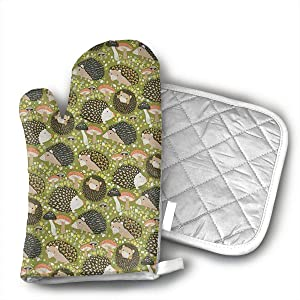 HEPKL Oven Mitts and Potholders Hedgehog with Mushrooms Non-Slip Grip Heat Resistant Oven Gloves BBQ Cooking Baking Grilling