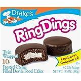 Drake's Ring Dings 10 Frosted Creme Filled Devils Food Cake