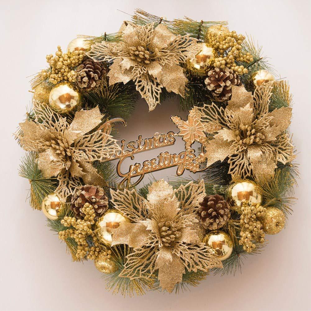 Mangadua 16 Pine Christmas Wreath Artificial Garland with Gold Ornaments