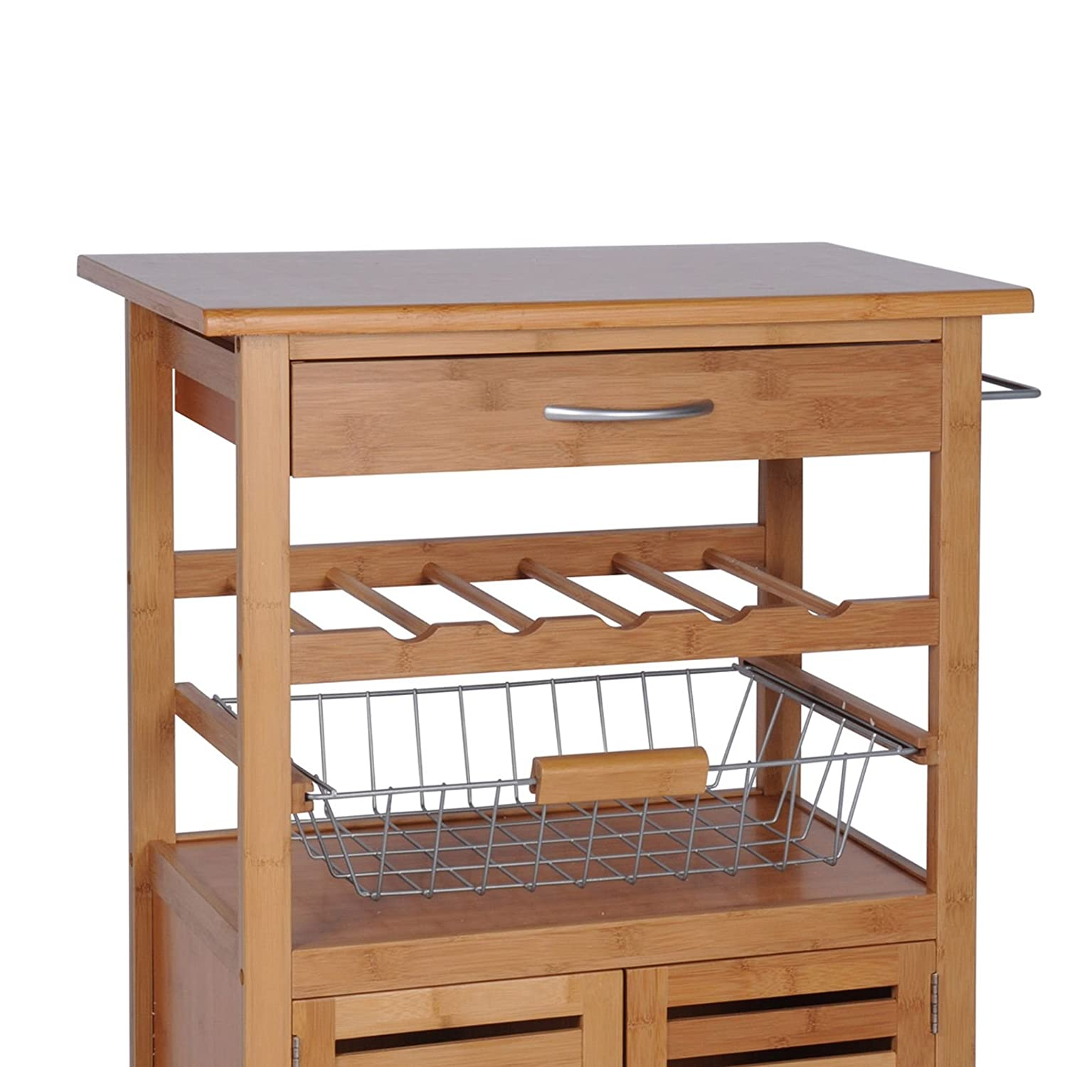 Quantio Exclusive Kitchen Trolley Made Bamboo Wine Rack,Fruit Basket Drawer