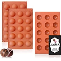 Small 15-Cavity Semi Circular Silicone Mold, 3 Packs Half Sphere Silicone Baking Molds for Making Jelly, Chocolates and…