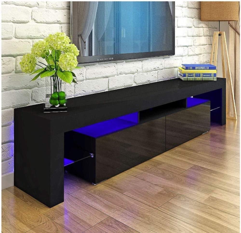 MMT Furniture Designs Ltd Black Modern TV Cabinet 200cm wide for 65 to 80 inch TV with Blue LED Lights for 50 55 60 65 70 75 80 90 inch LED LCD Plasma Flat Screens