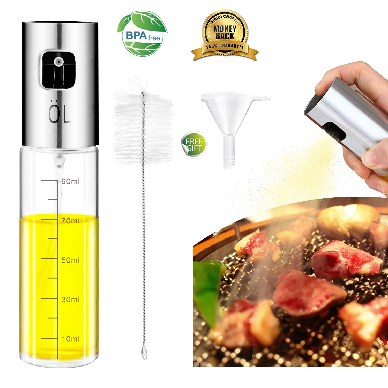 Olive Oil Sprayer, Oil Sprayer for Cooking with Scale, Food-grade Glass Oil Spray Bottle Oil Misters Vinegar Bottle Oil Dispenser for Cooking, Salad, BBQ, Kitchen Baking, Roasting