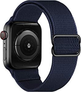 OXWALLEN Stretchy Nylon Solo Loop Compatible with Apple Watch Bands 38mm 40mm, Adjustable Elastic Braided Stretches Women Men Strap for iWatch SE Series 6/5/4/3/2/1,Midnight Blue