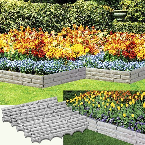 Set of 5 Faux Stone Sectioned Weather Resistant Garden Walls ()