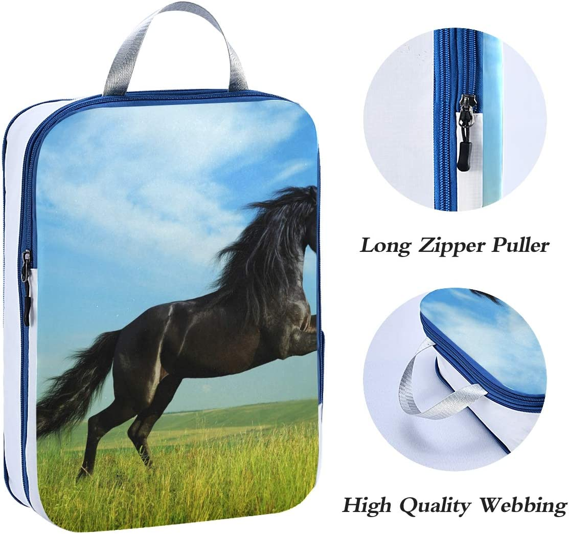 A Horse Running On Grassland 3 Set Packing Cubes,2 Various Sizes Travel Luggage Packing Organizers i