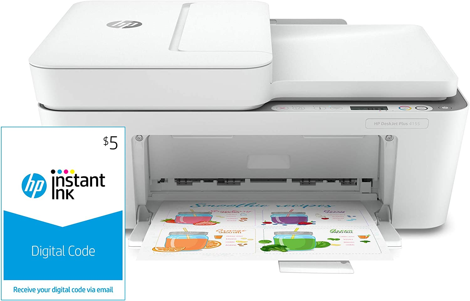 HP DeskJet Plus 4155 All-in-One Printer (3XV13A) and Instant Ink $5 Prepaid Code