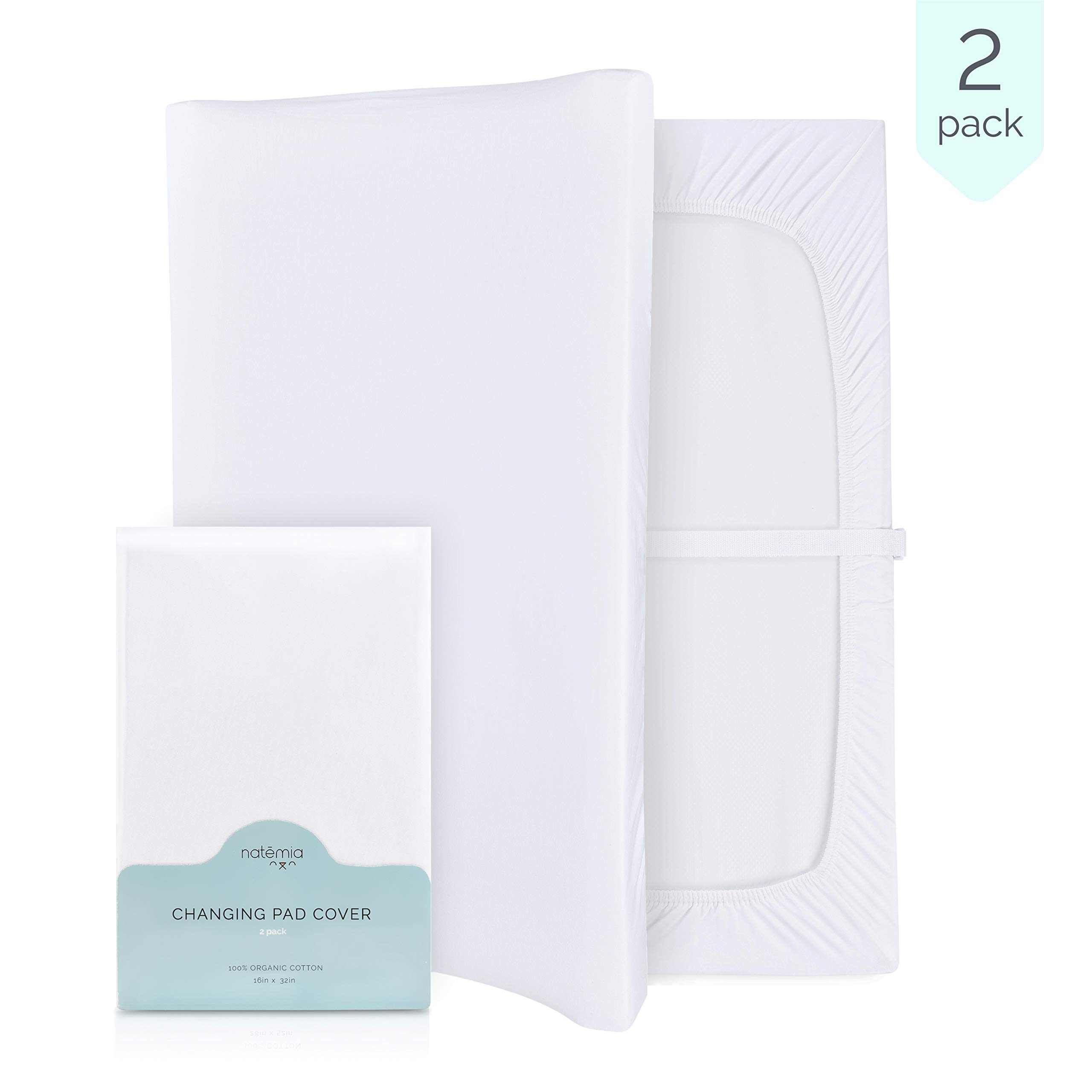 Natemia Changing Pad Cover Set - 100% Turkish Organic Jersey Cotton - 2 Pack 16X32 - Perfect for Cradle and Bassinet - Silky Soft and Hypoallergenic - Great Baby Shower/Registry Gift - GOTS Certified by Natemia