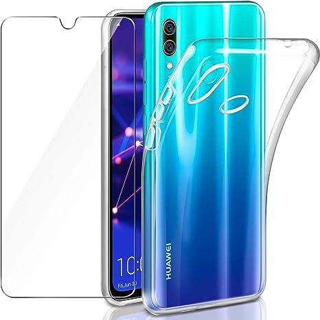Coque Huawei P Smart 2019 / Honor 10 Lite Transparente Verre trempé Protecteur écran, Leathlux Souple Silicone Étui Protection Bumper Housse Clair ...