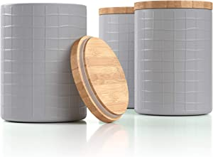 "Barnyard Designs Kitchen Canisters with Bamboo Lids, Airtight Metal Canister Set, Coffee, Sugar, Tea, Flour Storage Containers, Farmhouse Kitchen Decor, Cool Grey, 5.25"" x 6.75"", Set of 3"
