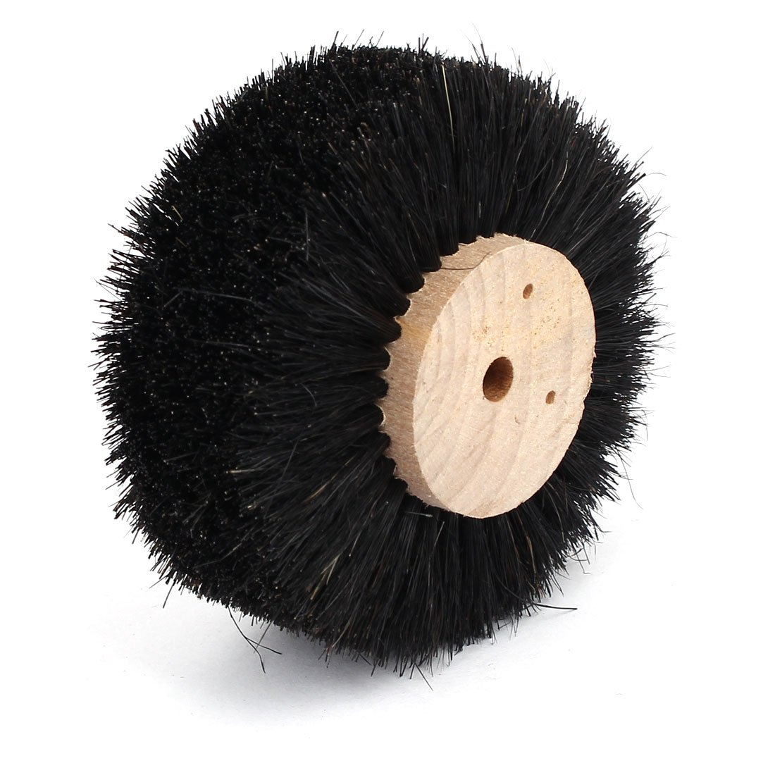 uxcell85mm Dia Wooden Hub Bristle Brush 8 Rows Grinding Buffing Wheel Black
