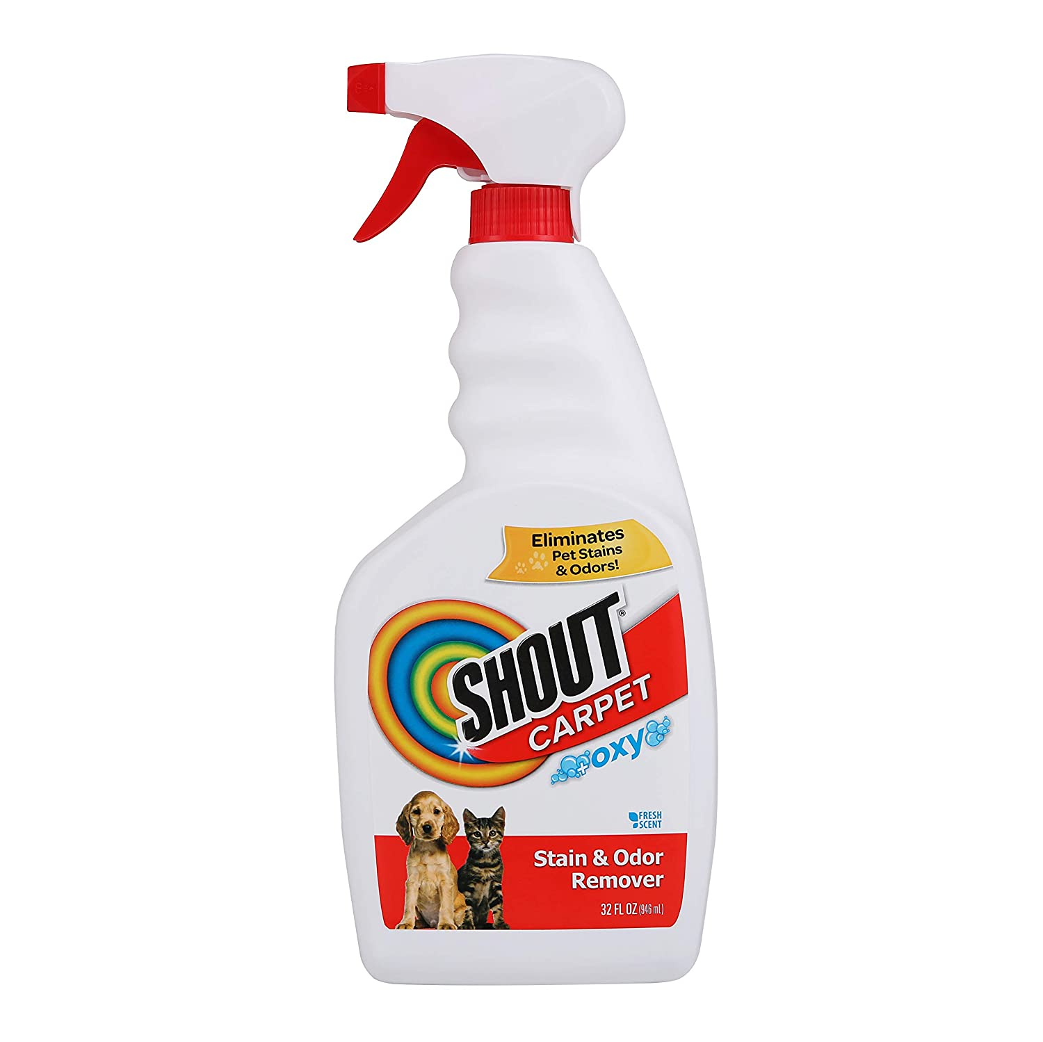 Shout Carpet Stain Odor Eliminator Spray | Completely Removes Tough Urine Stains & Prevents Remarking | Safe for Kids & Pets, | Fresh Scent, 32 Ounces