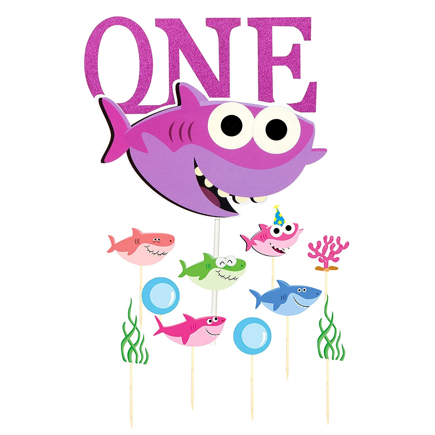 Ekate Pink Shark One Cake Topper Ocean Theme Baby Shower Girls First Birthday Party Cupcake Decorations (Pink One)