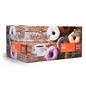 Day to Day Donut Blend Single Serve Coffee Cups, Fits Keurig K Cup Brewers, Box of 120 Coffee Pods