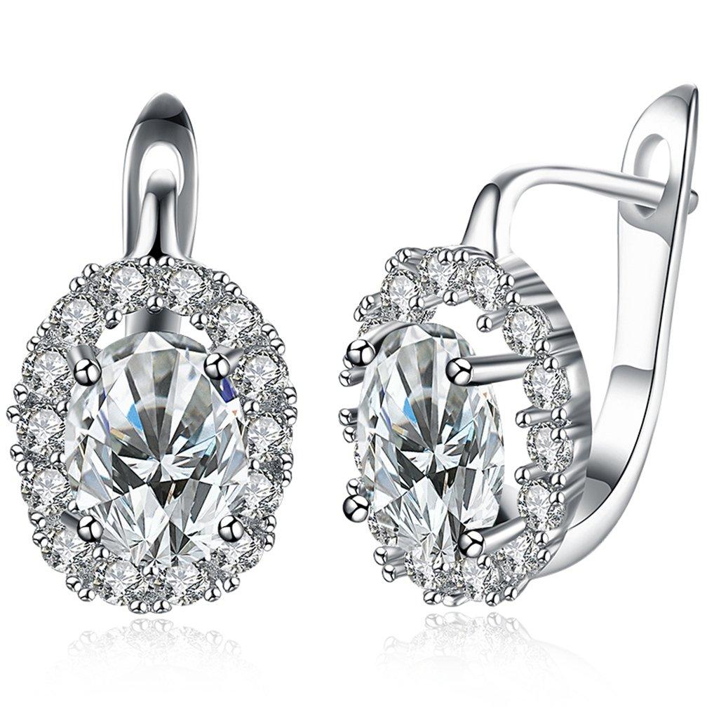 Women's 18K Champange Gold Plated Sparkle Austrain Crystal Hypoallergenic Pierced Huggie Hoop Earrings 1.7CM White