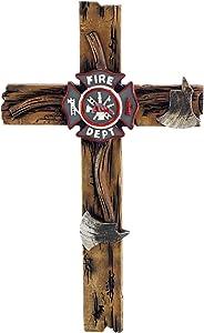 "Pine Ridge 10"" Fireman Axe Wall Hanging Cross Beautiful Fire Department Emblem Centerpiece - Great For Home, Garage, Shop, and Local Fire Station Decor Hero Series"