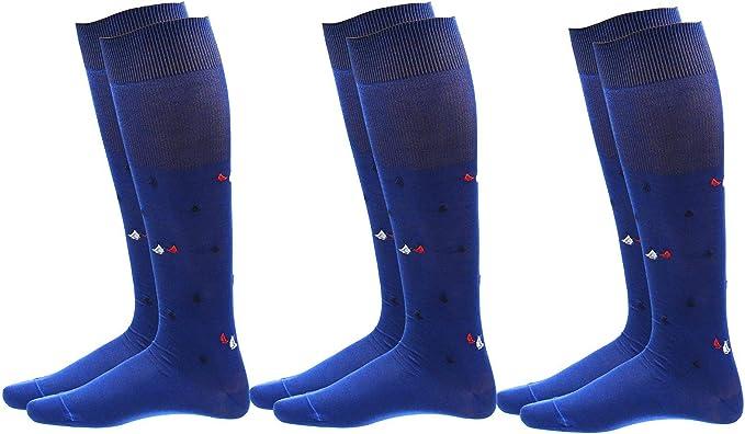Calcetines de hombre largos, fabricados en algodón 100% hilo de Escocia, altura media pierna, diseño a la moda, fabricados en Italia Blu Marinaio (3paia) 39-42: Amazon.es: Ropa y accesorios