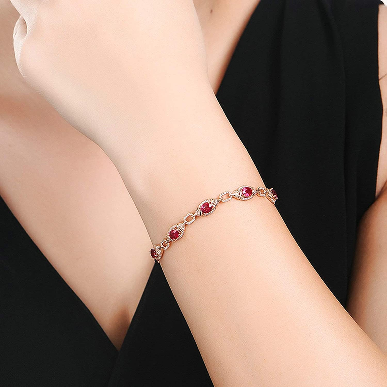 Aooaz Jewelry 18K Gold Bracelets For Girls Oval-Shape Stone 1.88Ct Party Anniversary Link Bracelets Red
