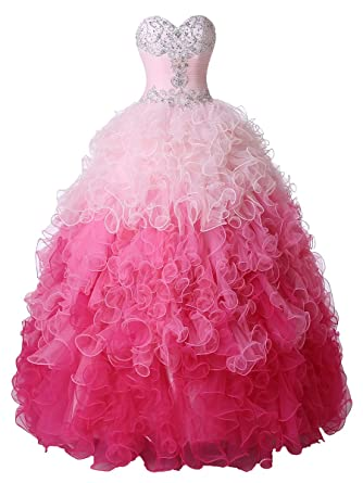 Callmelady Sweetheart Ruffles Ombre Ball Gown Prom Dresses Quinceanera Dress (Pink Ombre, US2)