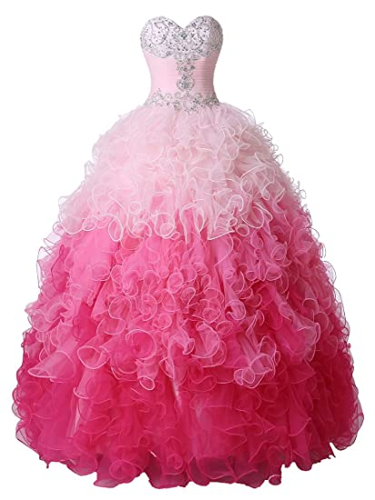 Amazoncom Callmelady Sweetheart Ombre Ball Gown Prom Dresses For