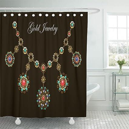 MAYTEC Shower Curtain Ethnic Gold Necklace With Semiprecious Stones Carnelian Turquoise Lapis Lazuli Gems On Black