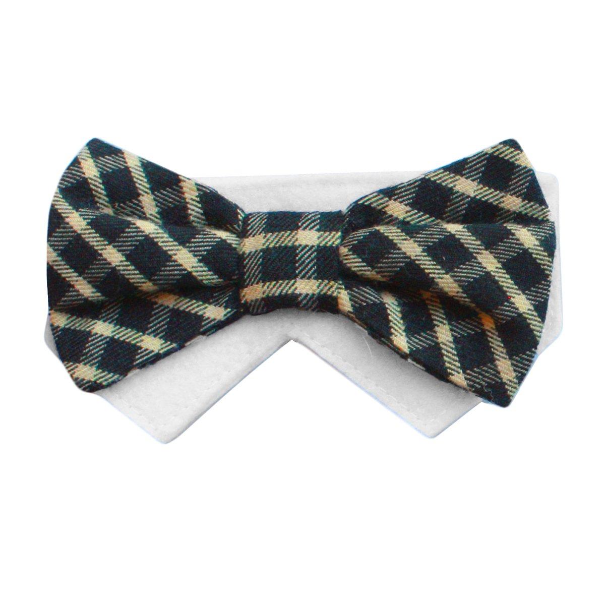 Large Yellow Plaid Dog Bow Tie Collar Slider Saturday (Large)