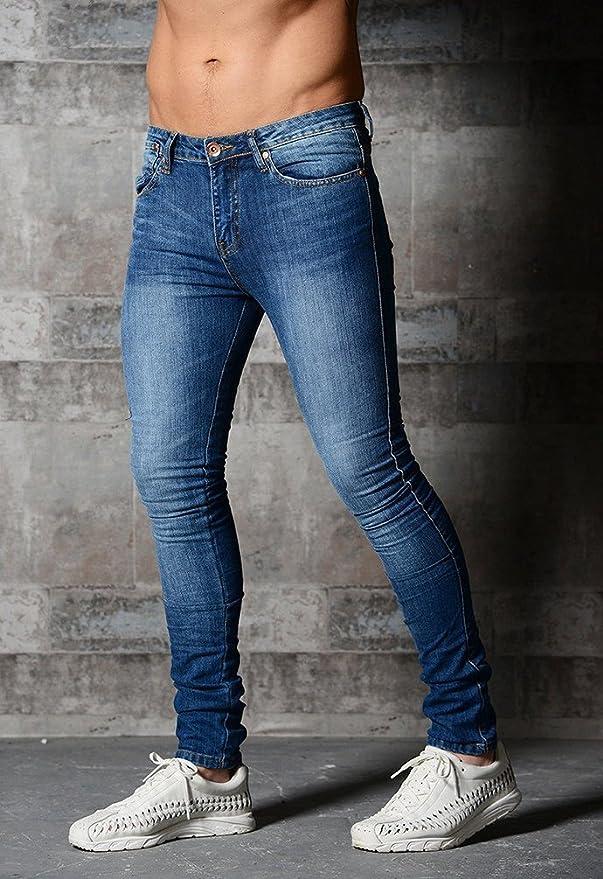 Byqny Denim Skinny Slim Stretch Solido Jeans da Uomo Comfort Gamba Dritta Pantalone da Fit Elasticizzati