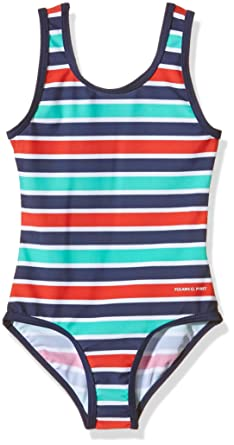 8fd7a1ecd79 Polarn O. Pyret Girl's Colourful Stripe Striped Swimsuit, Blue (Classic  Blue),