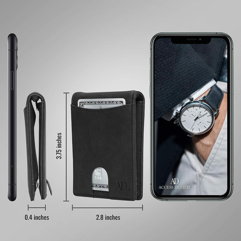 Minimalist Front Pocket Card Holder With Money Clip RFID Blocking Slim Bifold Wallets For Men