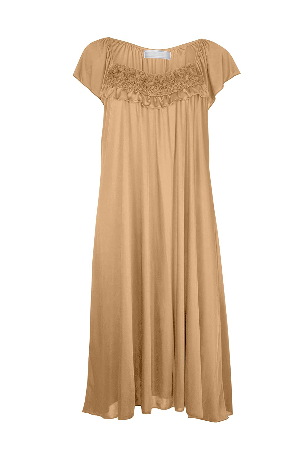 EZI Women's Satin Silk Ruffle Nightgown