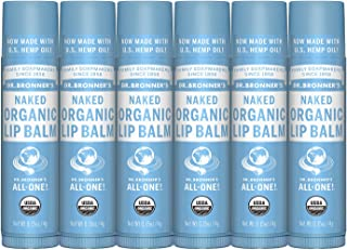 product image for Dr. Bronner's - Organic Lip Balm (.15 ounce, 6-Pack) - Unscented, Made with Organic Beeswax and Avocado Oil, For Dry Lips, Hands, Chin or Cheeks, Jojoba Oil for Added Moisture, Soothing (Naked)